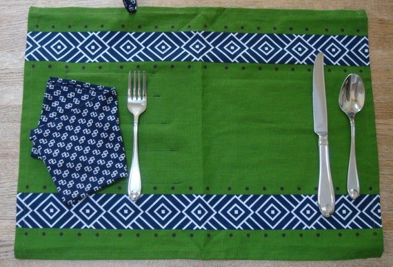 Eco friendly placemat, cloth napkin and utensil pouch SALE