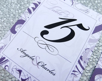 Table Numbers -- Set of 20 cards -- Swirl Cards, Wedding Table Names, Melissa Style
