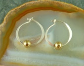 """Tiny Silver Hoops with Gold Accent / Whisper Light Earrings / Minimalist Earrings / 1/2"""" Hoops / ETSY SALE"""