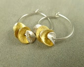 """Silver Hoops With Golden Petals / Silver and Gold Hoops / Minimalist Jewelry / Small Hoops / 3/4"""" Hoops"""
