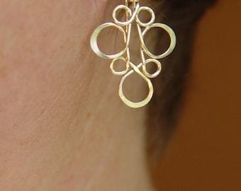 Gold Earrings / Floral Gold Earrings / Little Black Dress Earrings / Sterling Silver Earrings