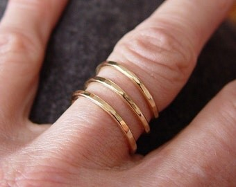 Trinity Gold Ring / Spiral Gold Ring / Thumb Ring / Gold filled Ring