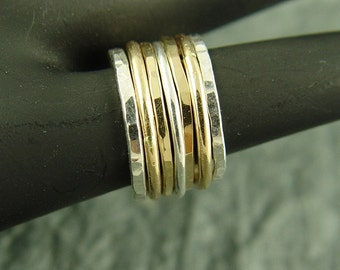 Stackable Rings in Rose Gold and Silver / DIY Ring Set / Stacking Rings / Rose Gold and Silver Rings / Seven Rings