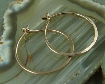 """Rose Gold Hoops Gold Filled Hoops / Medium Hoops / Minimalist Jewelry 1"""" Hoops / Sterling Silver Hoops"""