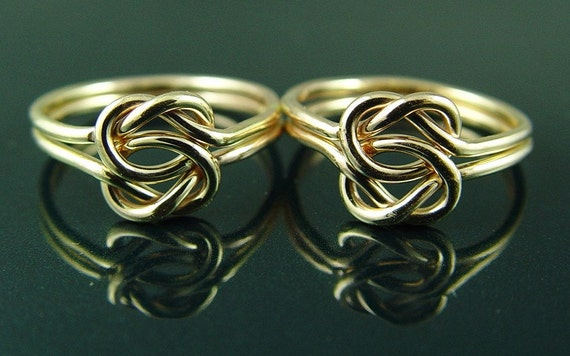 Gold Love Knot Ring / Two Gold Filled Love Knot Gold Rings / Best Friend Rings / Mother's Day Ring / Sisters Ring / Sterling Silver Rings