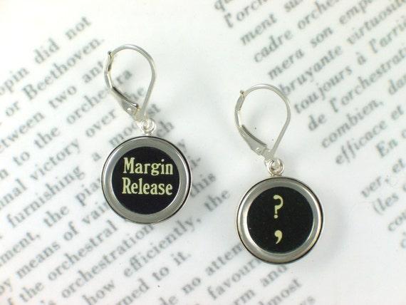 Typewriter Key Earrings -  Question Mark & Margin Release