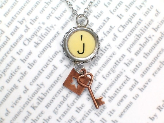 Typewriter Key Necklace With Initial J - Copper Star and Key - Mixed Metals - Vintage Typewriter Jewelry By Haute Keys
