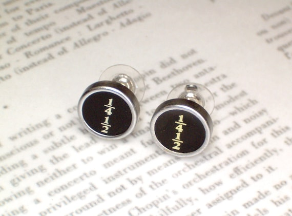 Typewriter Earrings Stud Button Style With Fractions - Typewriter Key Jewelry From Haute Keys