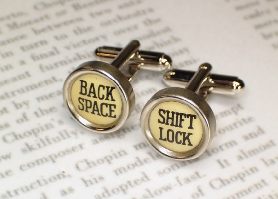 Cufflinks Typewriter Keys With Shift Lock & Back Space  - Typewriter Jewelry By HauteKeys