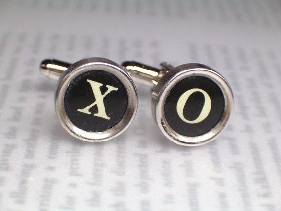 Typewriter Key Cufflinks Cuff Links With XO - Hugs and Kisses - Vintage Typewriter Jewelry By HauteKeys