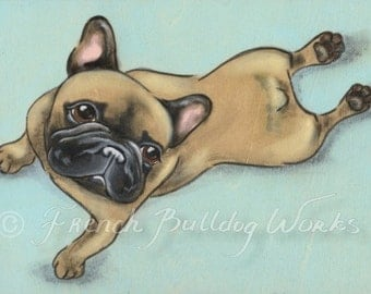 Original French Bulldog Yoga Stretch Painting