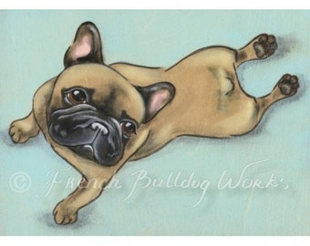 French Bulldog Bouledogue Francais Art Print from Original Painting by Dasha Goux