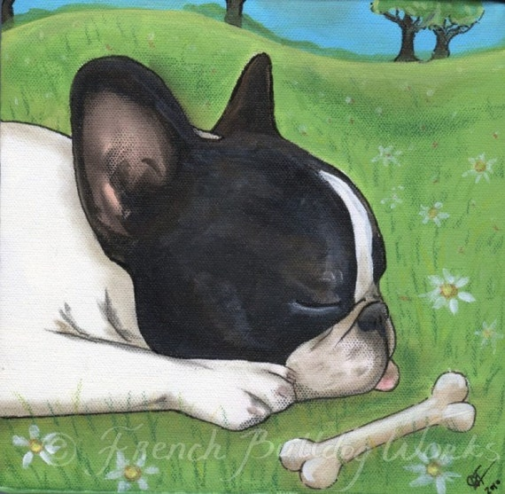 French Bulldog Bouledogue Francais Art Print from Original Painting Dasha Goux