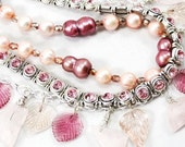 pink freshwater pearl and pink quartz statement necklace - swarovski crystals - Camille