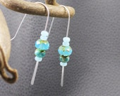 Blue lagoon glass dew drop earrings picasso cut sterling silver paddle style earwires - Caribbean Wave