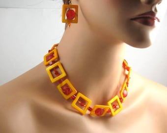 Yellow, Red and Orange Art Deco style necklace and earrings