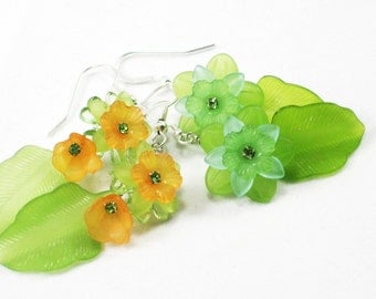 resin flowers with Swarovski crystals pressed glass - Garden Party earrings, red blue yellow orange pink green