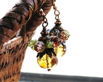 Citrine and Peridot Earrings - Autumn Glow