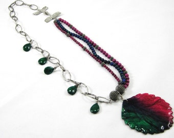 Preserved handpainted leaf necklace with malachite and fossil beads - pewter dragonfly, Wine Country, purple green blue