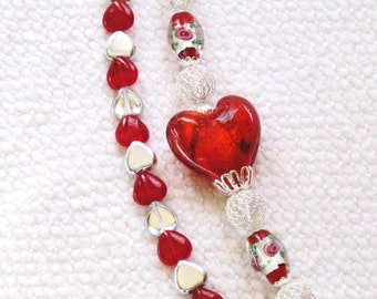 Heart Strings Bracelet - red glass heart ,rose, sterling, two strands, cupid charm, valentine, gift for her