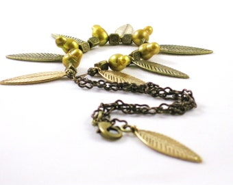 Leaves of Gold necklace with cultured fresh water pearls