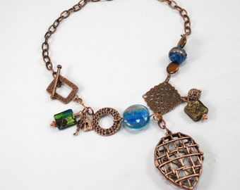 copper locket turquoise and green charm necklace - Gate Keeper,  pendant necklace