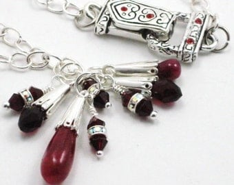 Ruby and Red Quartz Charm Pendant Necklace