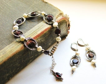 Garnet and pearl barogue style bracelet and earrings - heart shaped garnet magnetic clasp January birthstone