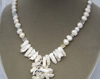 freshwater cultured pearl and Swarovski crystal necklace -  wedding, winter, Celebration