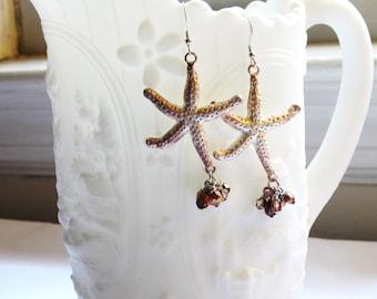 Ocean Star Earrings - starfish beach pearls natural nature