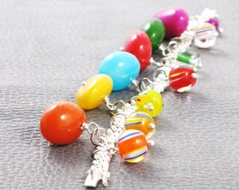 The Candy Shoppe - multicolored freeform jade nugget bracelet