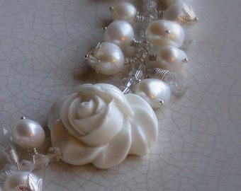 The Rose - bracelet for wedding, bride, bridesmaids - white rose, crystals, freshwater pearls