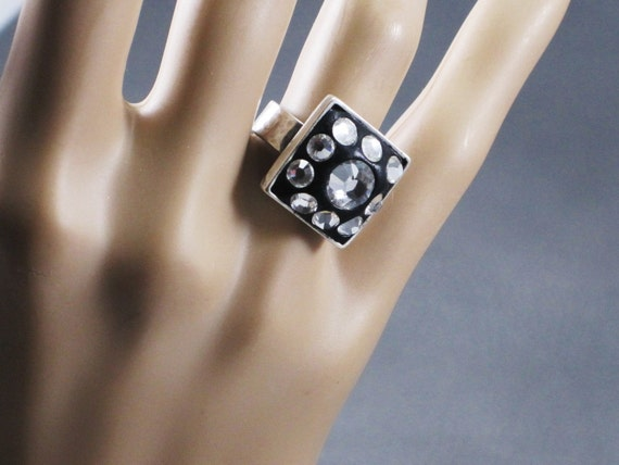 Sterling silver ring with Swarovski crystals imbedded in black base Midnight Magic goth bling