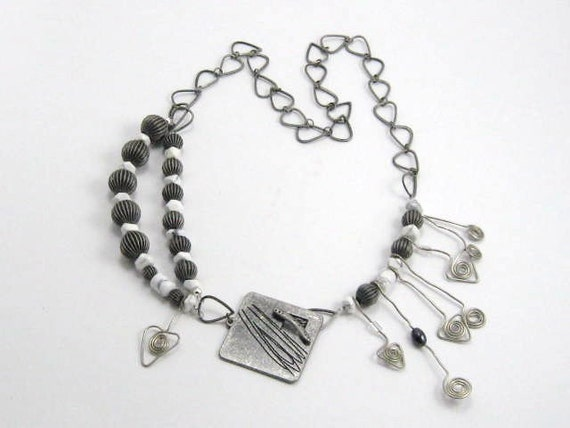 Metalworks - Industrial Chic Necklace oxidized metal semiprecious howlite contemporary style artisian statement