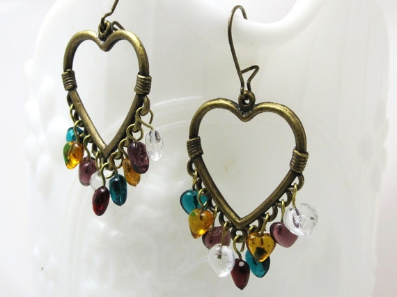 Rainbow of Hearts Earrings - antiqued brass open heart rainbow pressed glass heart beads love valentine