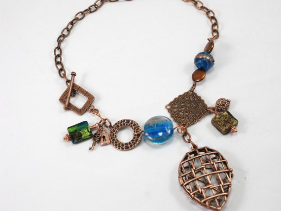 Gate Keeper - copper locket turquoise and green charm necklace
