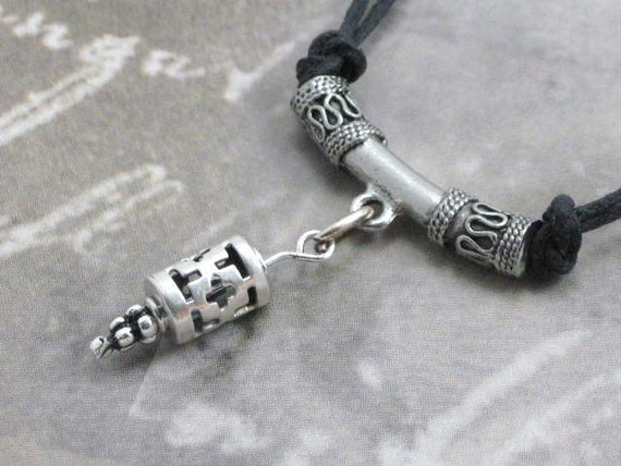 Unisex Necklace - Black waxed cotton with Hill Tribe sterling silver