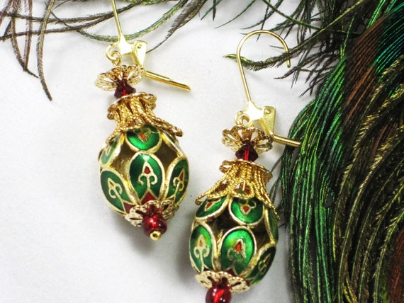green red gold cloisonne bead dangle earrings - holiday party - Byzantine Holiday