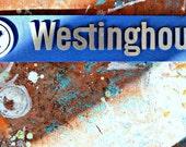 Vintage Westinghouse Metal Sign Baby Blue Retro Kitchen Decor