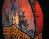 Antique Lamp Shade Arts & Crafts handmade  Art deco/Art Nouveau lampshade Beaded fringe