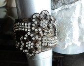 Antique Handmade 19th C Metallic Trim  Rhinestone Paste Bronze Wedding Cuff Bracelet Bellasoire Original design
