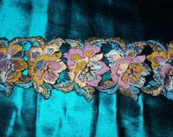 Metallic 1920s Embroidered Floral Appliques Teal, Purple, Olive green, metallic gold and blue Art Deco Victorian