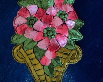 1920's Silk Embroidered Dress Applique Floral Basket Luscious Pink Lampshade or Pillow