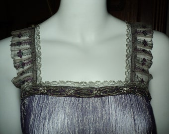 Handmade 1920s metallic crinkle silk top tunic with antique beaded trim and Edwardian metallic lace Bellasoiree Original