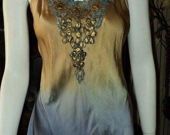 SALE Antique Handmade 1920s Beaded Camisole Bellasoiree original Gold to Blue Silk Cut Steel Applique XL