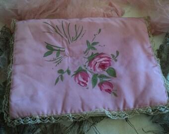1920s Hand painted silk Rose with lace lingerie hanky bag boudoir original flapper
