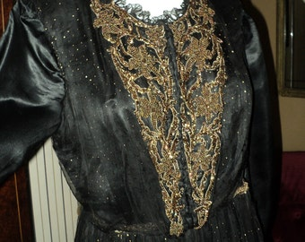 Victorian Beaded Gown Black Silk Pleated Bottom Copper Metallic Sheer Net Skirt Original Wearable