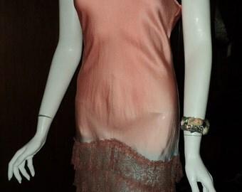 1920s Antique Ribbonwork and ruffled metallic skirt on handyed ombre silk tunic Metallic roses flapper dress FINAL SALE