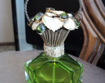 Amazing Antique European Perfume Bottle Green with Basket Lid encrusted with Stones ca 1950-1960 FINAL SALE