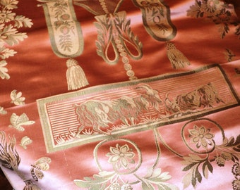 19th C Pictoral Fabric French Lovely Pink Swags Floral Yardage Silk Brocade Pillows Antique